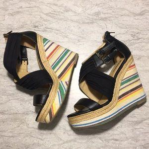 SODA size 10 black and rainbow espadrille, zipper